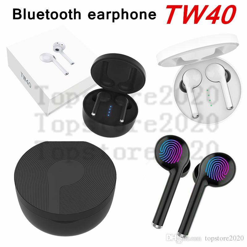 TW40 TWS inalámbrica Bluetooth para auriculares auriculares estéreo de alta fidelidad de sonido auriculares manos libres de llamadas Touch Auriculares de control con una función de micrófono de alta definición