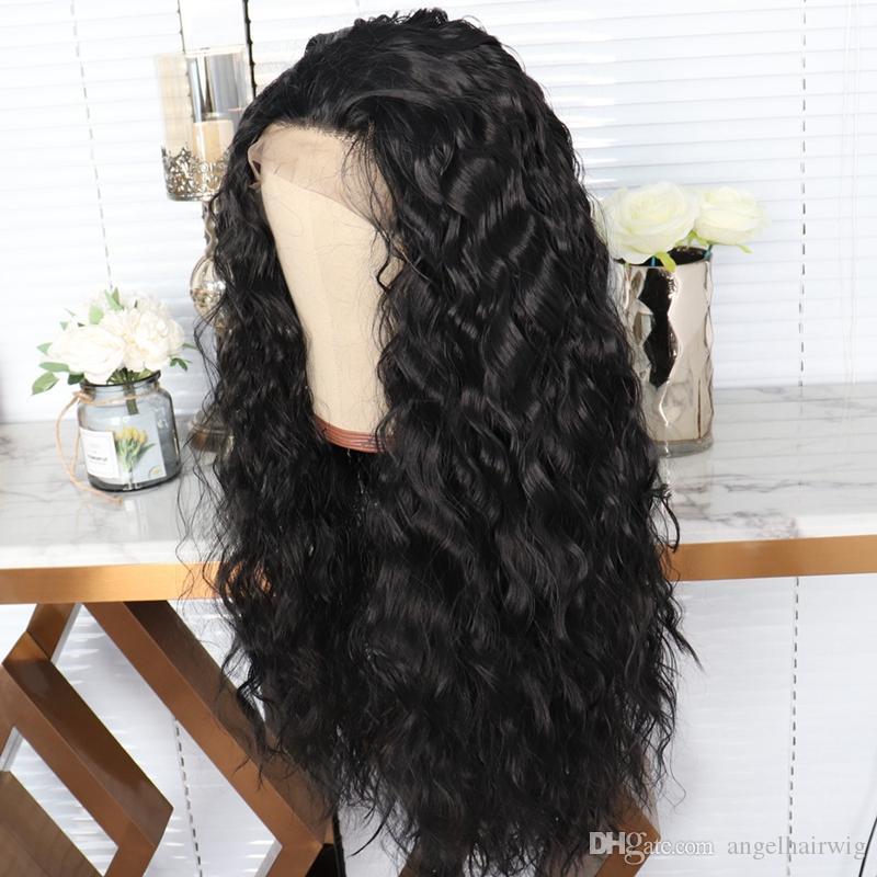 Avant naturel lâche bouclés Hairline dentelle perruque # 1b synthétique résistant à la chaleur fibre cheveux perruque noire pour les femmes noires
