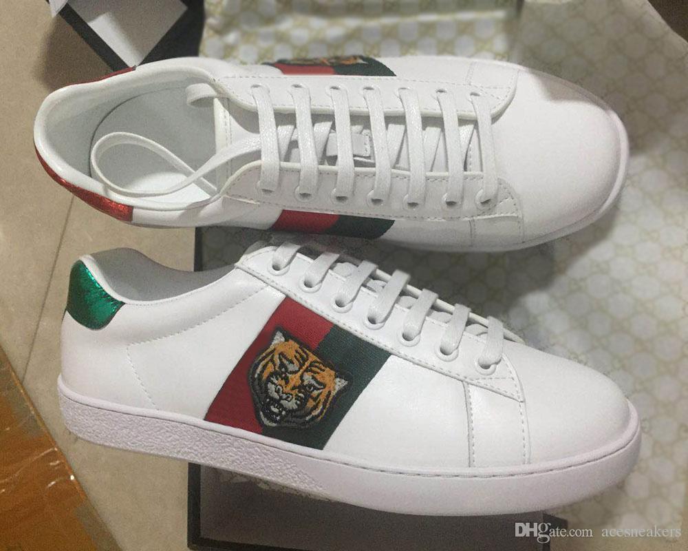Designer Luxus Schuhe aus echtem Leder Designer Sneaker Herren Damen Freizeitschuhe ACE bestickt weiße Bienen Schlange Schuhe Größe 35-46