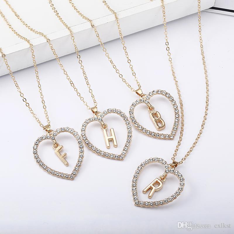 Basit altın Renk aşk kalp kolye kolye çift Rhinestone gerdanlık kolye kadın bildirimi takı Bijoux x1