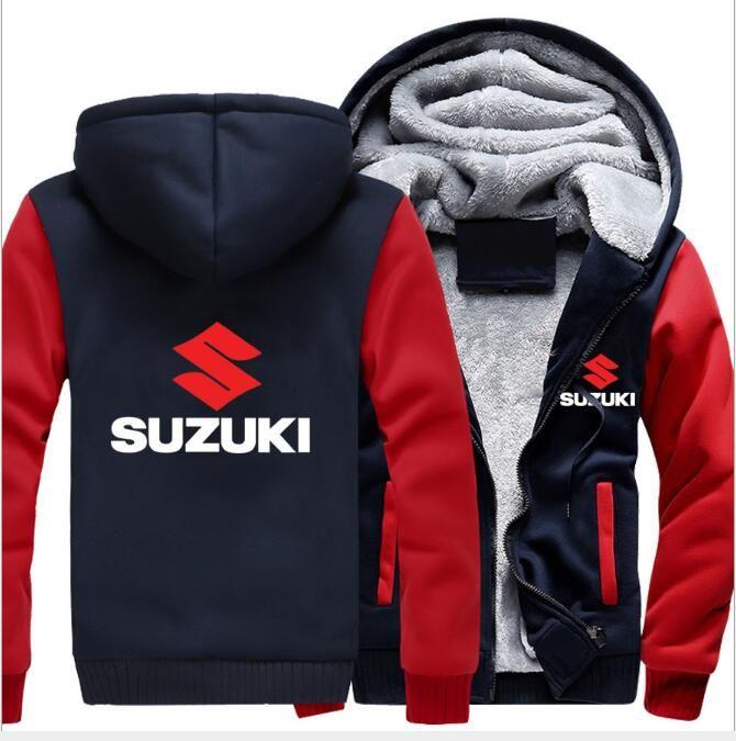 Нового Hoodie Мотоцикл Suzuki толстовка куртка зима Мужчины пуловер Человек пальто вскользь шерсти Liner Флис Suzuki Толстовка