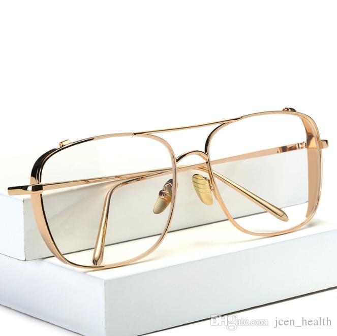 gafas de sol de lujo de estilo de rock para los hombres cuadrados gafas de lentes claros llanta gafas de sol de metal de plata de época de oro de gran tamaño de fotograma completo