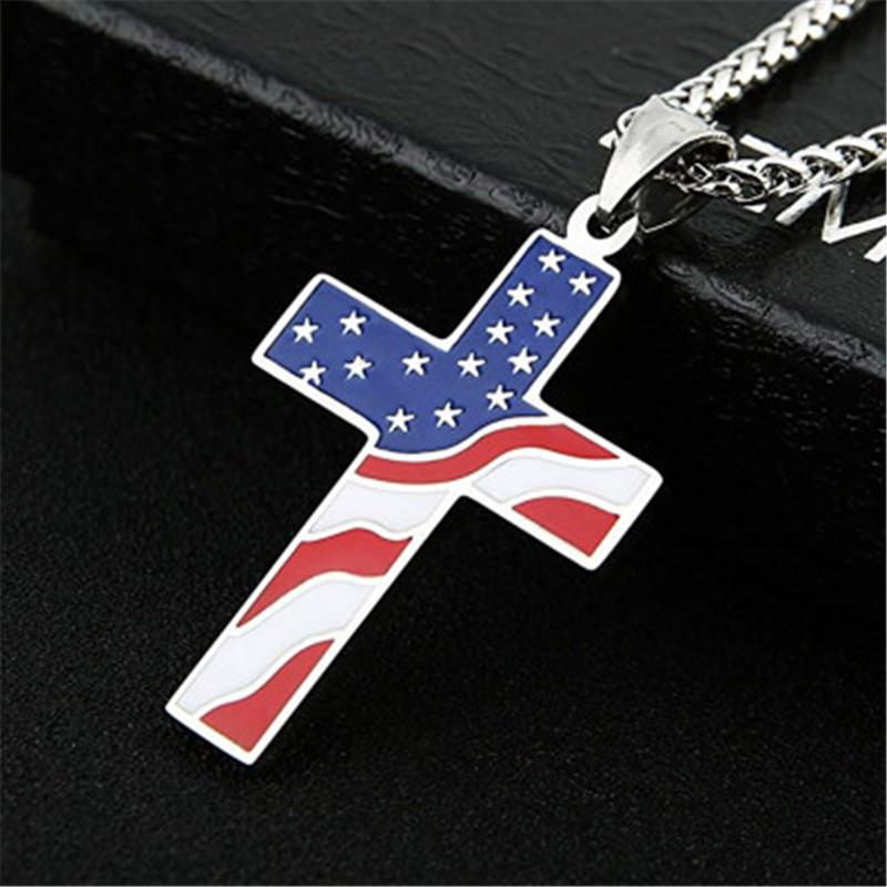 American USA Flag Cross Pendant Necklace Men Women Stars Stripes Enamel Jesus Religion Christian Amulet Necklaces Jewelry Gifts