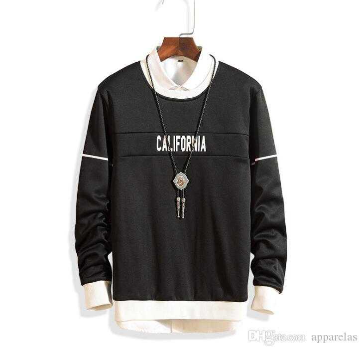 New men's sports long-sleeved sweater casual wear letter printing set youth round neck pullover men's clothing