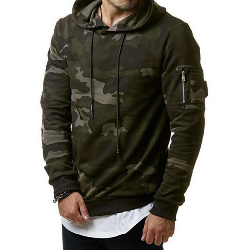 2018 Camouflage Hoodies 남성 운동복 힙합 남성 Hoody 지퍼 운동복 브랜드 가을 겨울 남성용 카모 풀오버 3XL