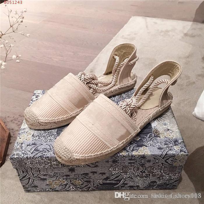 Primavera / estate delle signore nuovo ricamati moda Comodo sandali a fondo piatto con la paglia tacco basso sandali pescatore con Box 35-40