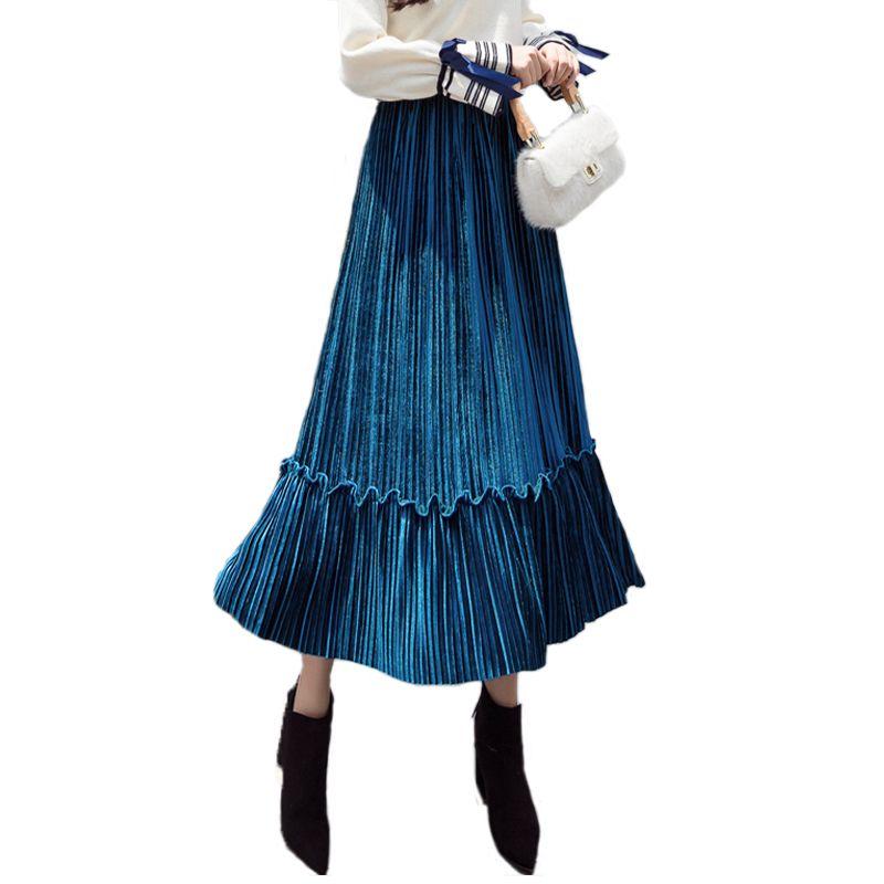 2019 Spring Office Women's Long Skirt Large Swing Skirts Fashions Velvet Pleated Skirt Plus Size Elastic High Waist Women Skirt