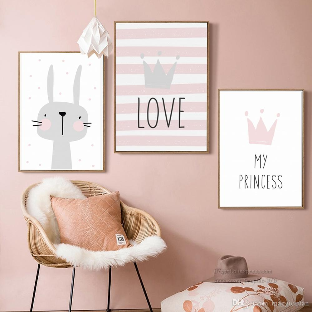 2021 Nordic Kids Room Decor Rabbit Crown Pictures For Girls Room Nursery Canvas Painting Nordic Posters Prints Baby Rooms Unframed From Maggiequan 11 3 Dhgate Com