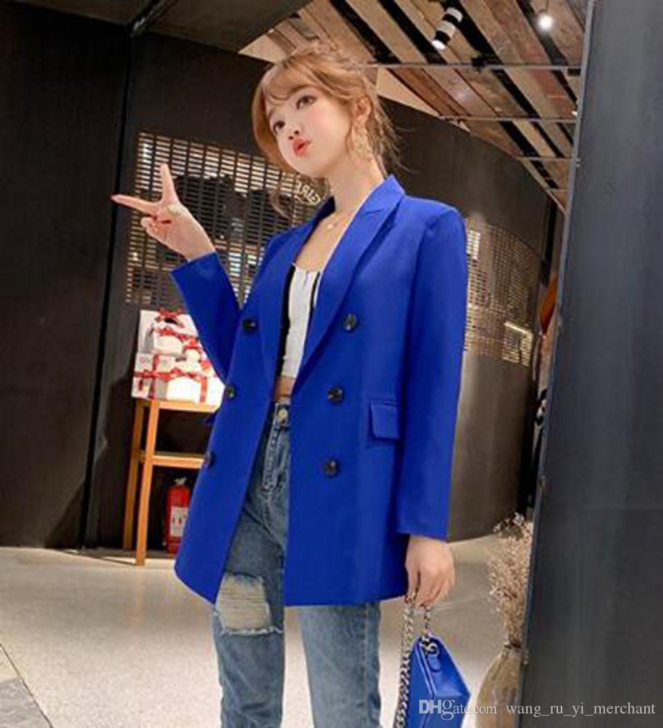 Женская корейская версия нового бутика особый индивидуальный тренд моды тонкий весенний и осенний пиджак с длинными рукавами / S-2XL