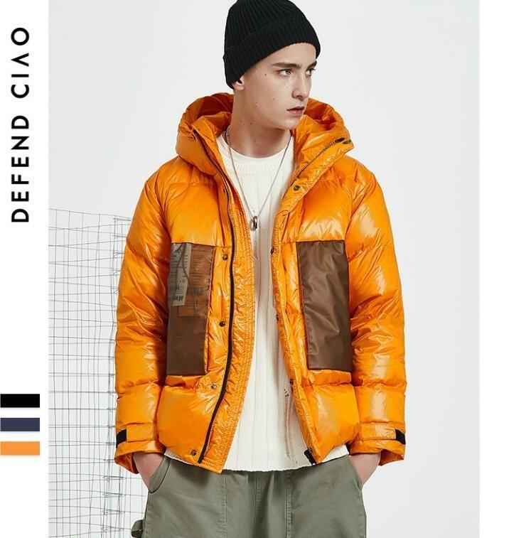 جديد شتاء العلامة التجارية الرجال ستر فاخر مصمم أسفل سترة مع المرقعة نمط رجل أسفل بارد معطف دافئ قمم الملابس بالجملة