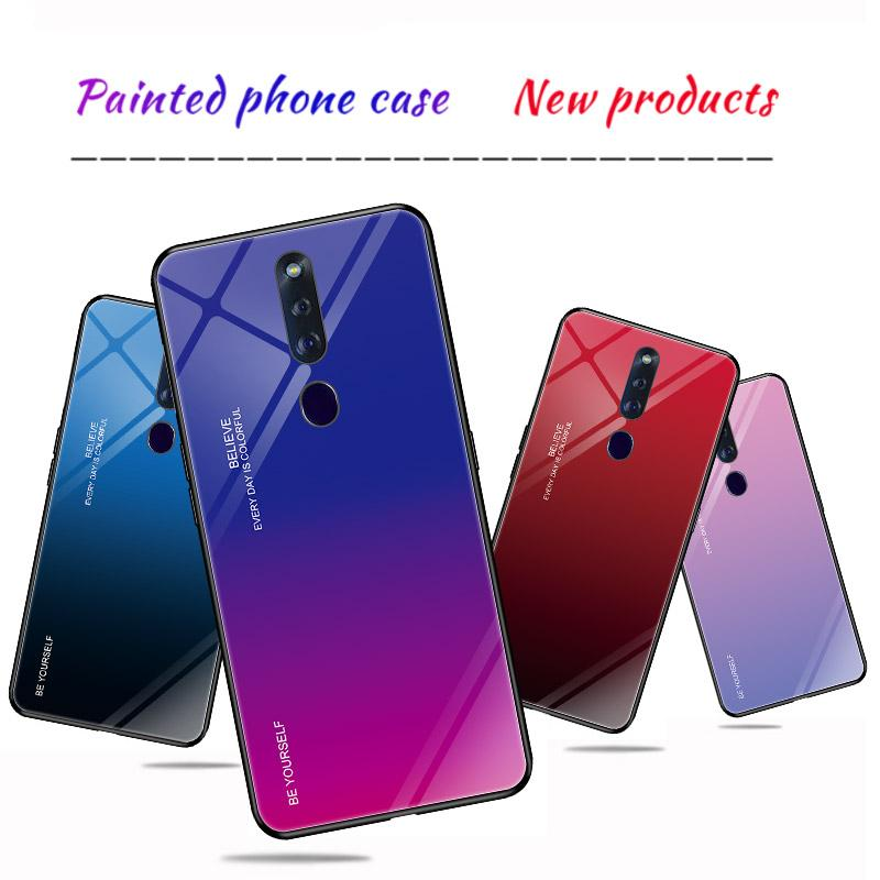 Colorful Scratch-Proof Thin Gradient Tempered Glass Phone Case for OPPO F11 Pro Protection Back Case Cover