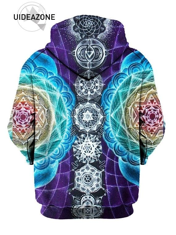 Psychedelic Hoodies Trippy Visionary Artwork Rainbow Art Sublimation Print Hoodies Men Plus Size 3XL