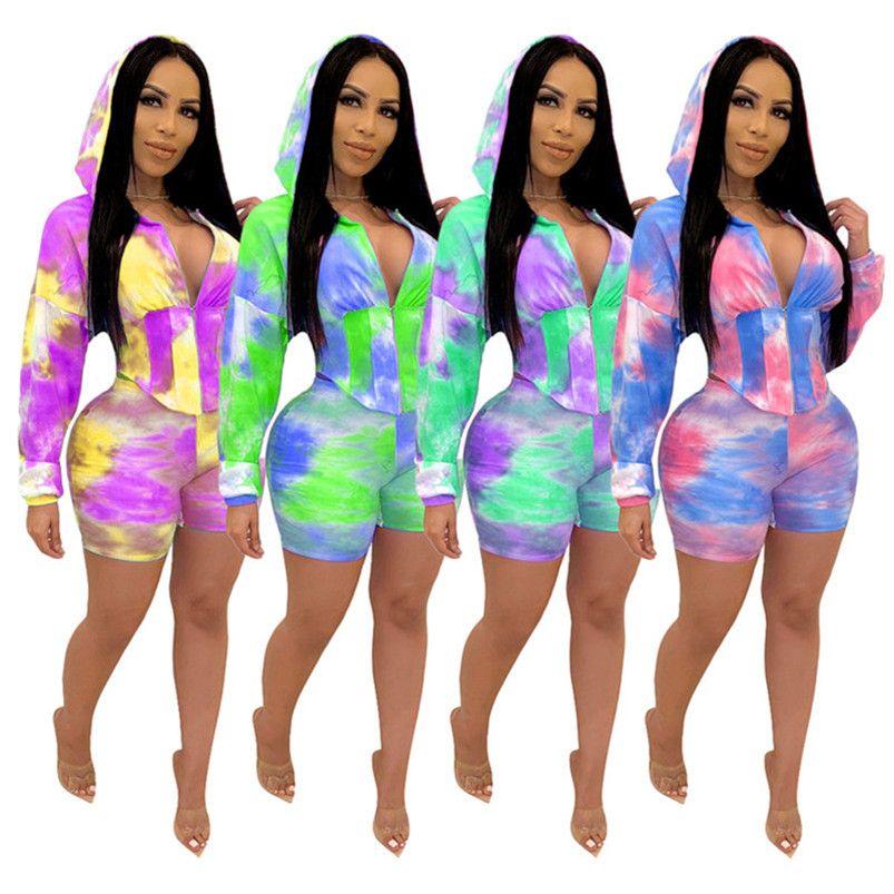 sportswear conjunto 2 pedaço mulheres fatos de treino calções outfits manga longa esporte ocasional terno novo de venda quente impressão de verão Roupa feminina klw3608