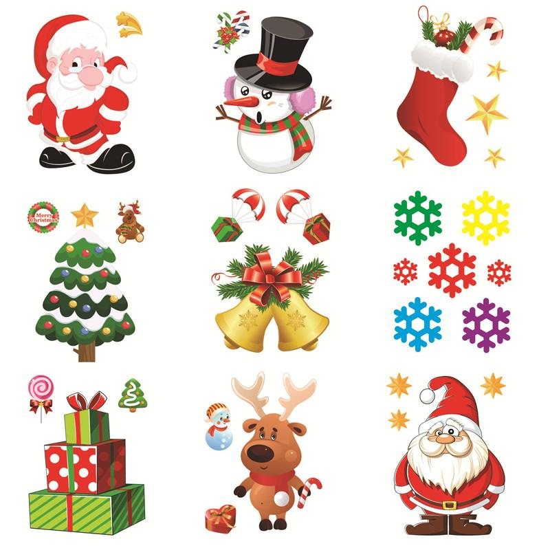 Window Refrigerator Snowman Santa Claus SnowFlake Gifts Christmas Tree Wall Sticker Decorations For Home Stickers 2018