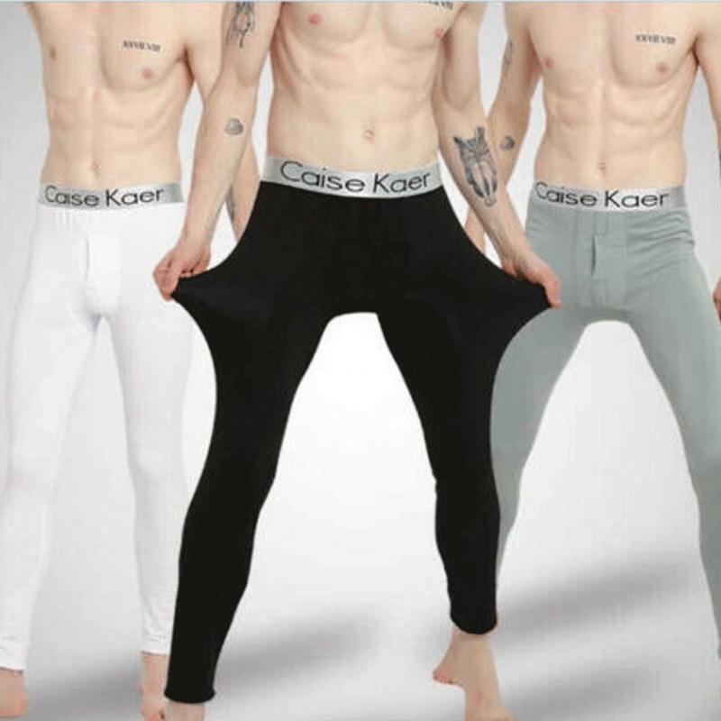 Pantaloni Goocheer Intimo Uomo caldo lungo inverno più velluto che ispessisce cotone modal Leggings argento bordo