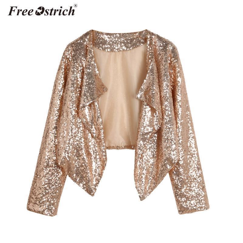 Куртка Осень Весна Мода Короткий Кардиган Женщины Золотые Блестки С Длинным Рукавом Нерегулярные Верхняя Одежда Топы Тонкий Пальто