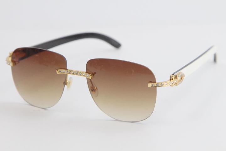 2020 판매 무테 금속 믹스 다이아몬드 선글라스 8200860 원래 화이트 내부 블랙 버팔로 호른 안경 에디션 남성과 여성을 제한
