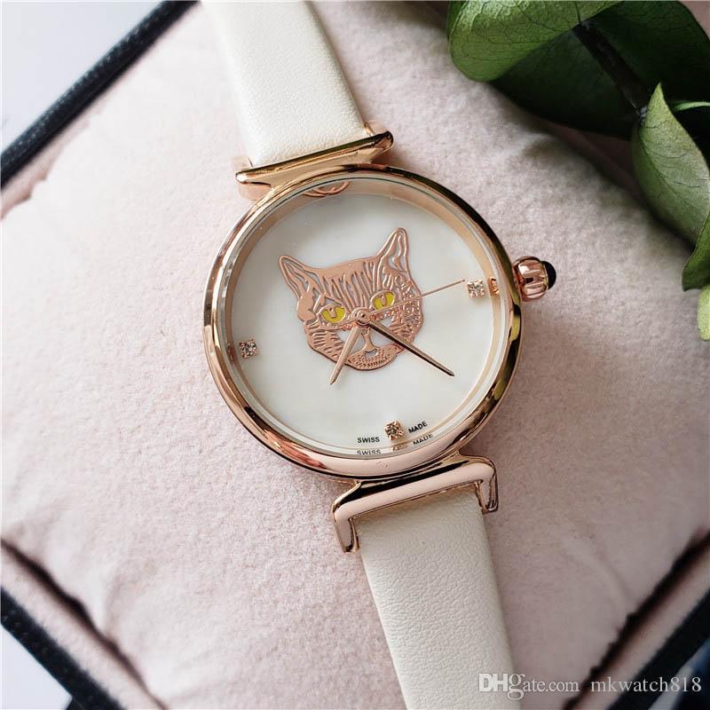 أنيق المرأة مصمم ترف الماس الساعات أم حركة بيرل الطلب حزام جلد كوارتز ساعة سيدة الساعات ساعة اليد