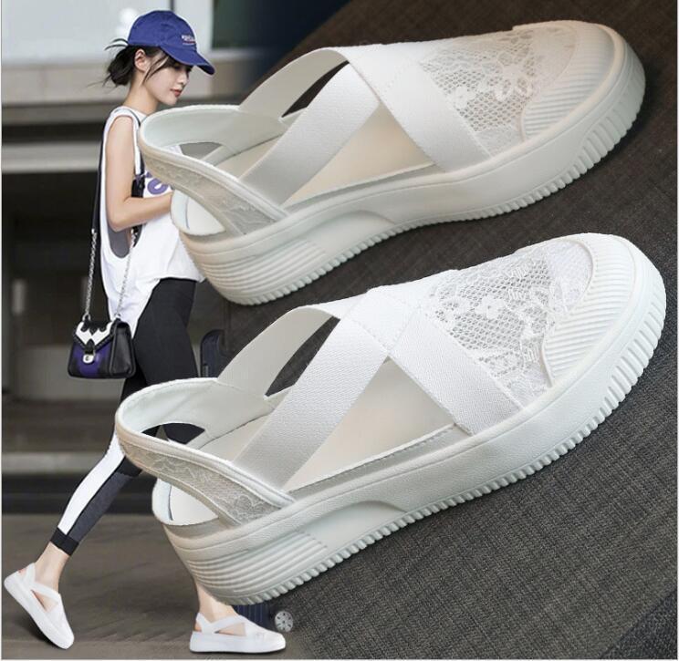 sandálias de pescador feminino verão 2020 nova rendas elástico Baotou espessura de fundo respirável sapatos pescador ocasional WY1324