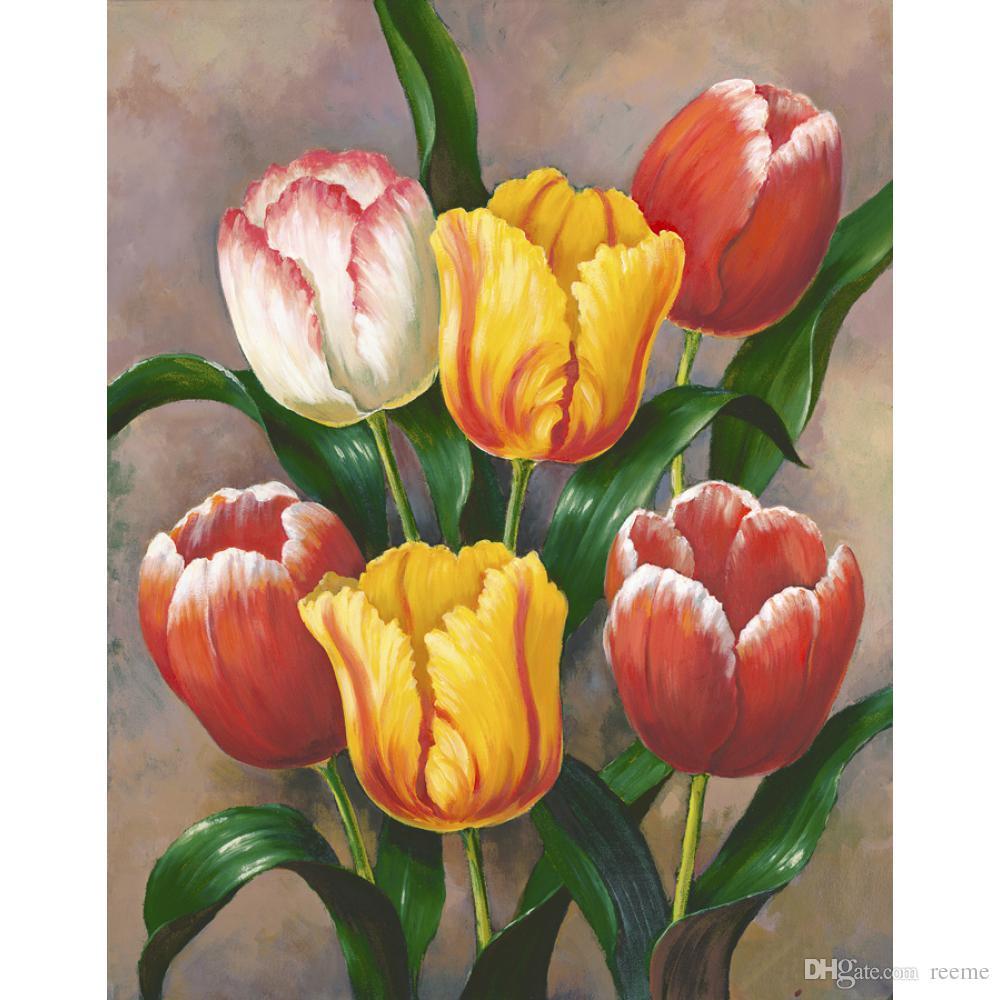 Handgemalte Stillleben Ölgemälde blühen moderne Kunstbild der Frühlings-Tulpen für Raumdekor