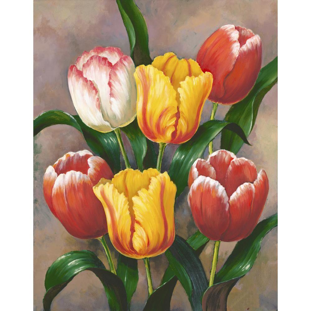 Peint à la main nature morte peintures à l'huile de fleur Printemps Tulipes photo d'art moderne pour la décoration de la chambre