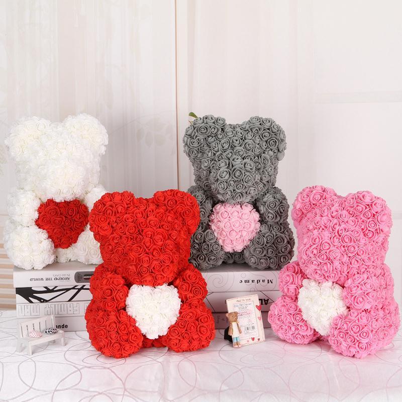 DropShipping 40cm Rose Bear Heart Artificial Flower Rose Teddy Bear For Women Valentine's Wedding Birthday Christmas Gift T200103