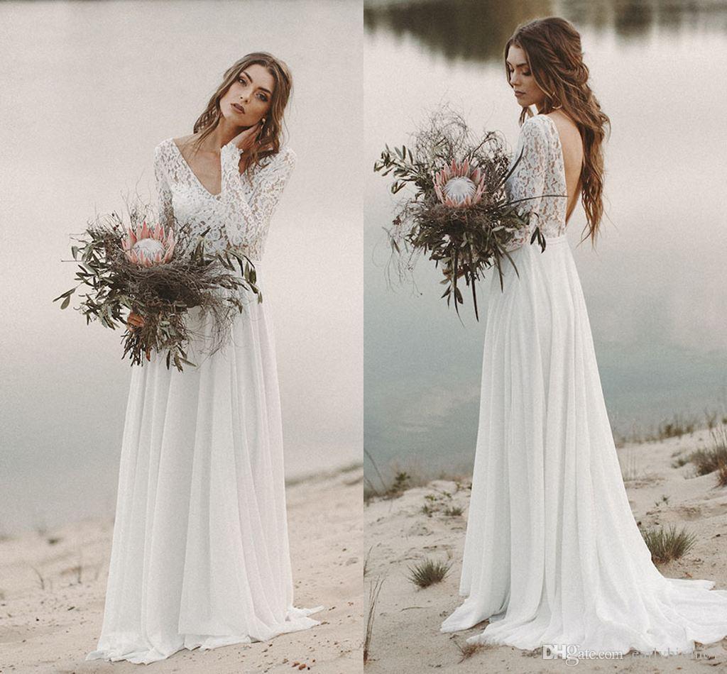 Дешевые кружева длинные рукава богемное платье свадебное платье элегантные v шеи открыть назад шифон пляж boho bridal платье