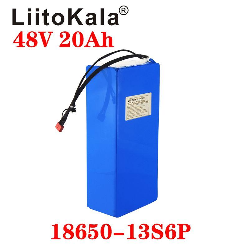 Liitokala 48v 20ah 13S6P Batteria al litio BATTERIA 48V 20AH 1000W Batteria per bicicletta elettrica costruita in 20A BMS
