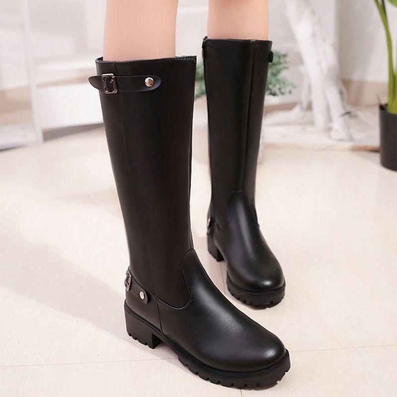 جلد طبيعي نمط الشرير منتصف العجل أحذية نسائية نقي اللون أحذية المطر في الهواء الطلق زيبر الإبزيم الأحذية المياه لأنثى