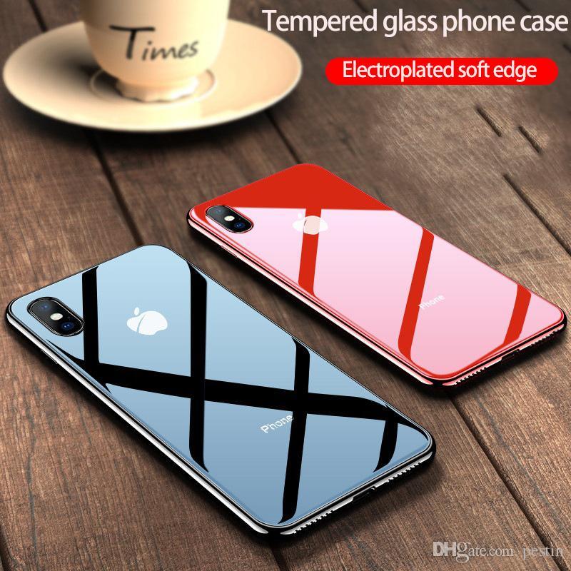 Pour iPhone 11 pro max téléphone verre CaseTempered cas côté soft shell téléphone tout compris cas simple de placage de couleur unie