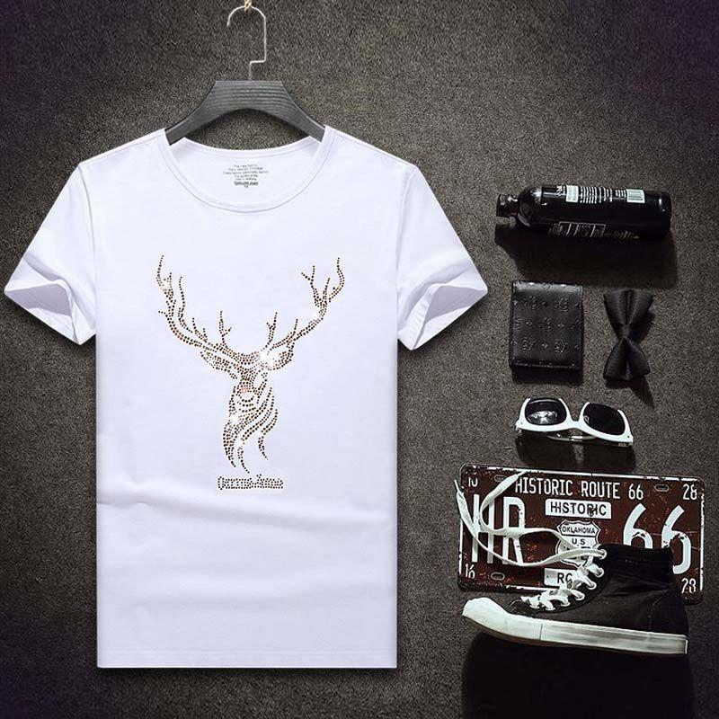 패션 남성 T 셔츠 브랜드 디자이너 스타일의 셔츠 남성 크루 넥은 모조 다이아몬드 T 셔츠 반소매 4 개 스타일 크기 S-7XL