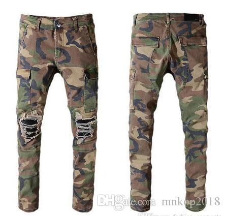 2019 NUOVI Pantaloni da Uomo Moda Camuffamento Pantaloni Da Jogging Mens Zipper Tuta Beam Piedi Pantaloni Pantaloni Pantaloni # 536
