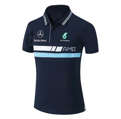 2020 Yeni F1 Araba Yarışı İş Kıyafetleri Kart AMG Takım Kısa Kollu Yaka Tişört POLO Gömlek Formula Custom Hızlı Kuru Nefes Ter