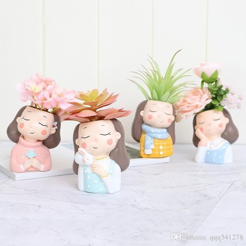 فتاة دافئة صغيرة مزرعة مجموعة-4pcs ريتنج النباتات الغالية Planter Pot Mini Bonsai Cactus Flower Pot Home Decor Rabit Craft