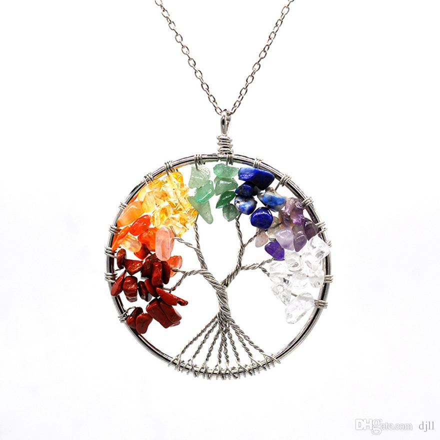 Tree of Life Pendant Charm Necklace Colorful Life Tree Vintage Rope Chain Necklaces Round Beads Women Natural Stone Blue Gem Crystal Jewelry