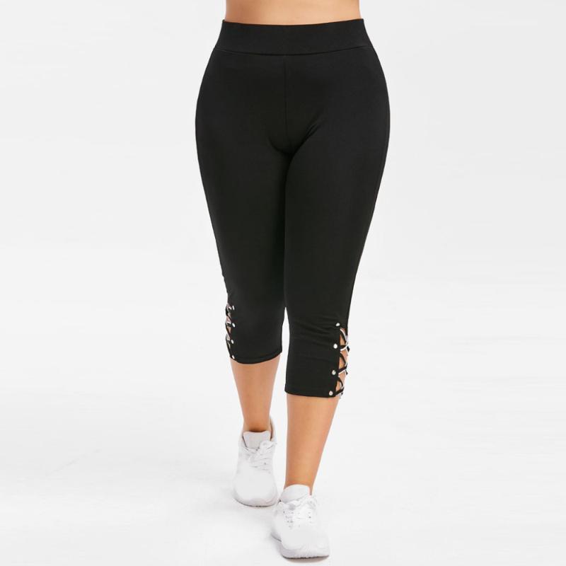 Frau Hosen-beiläufige elastische Taille plus Größen-Kreuz-Bügel-Gamaschen Hoch Wasit wadenlangen Bleistift-Hosen pantalon Ladung femme # 15