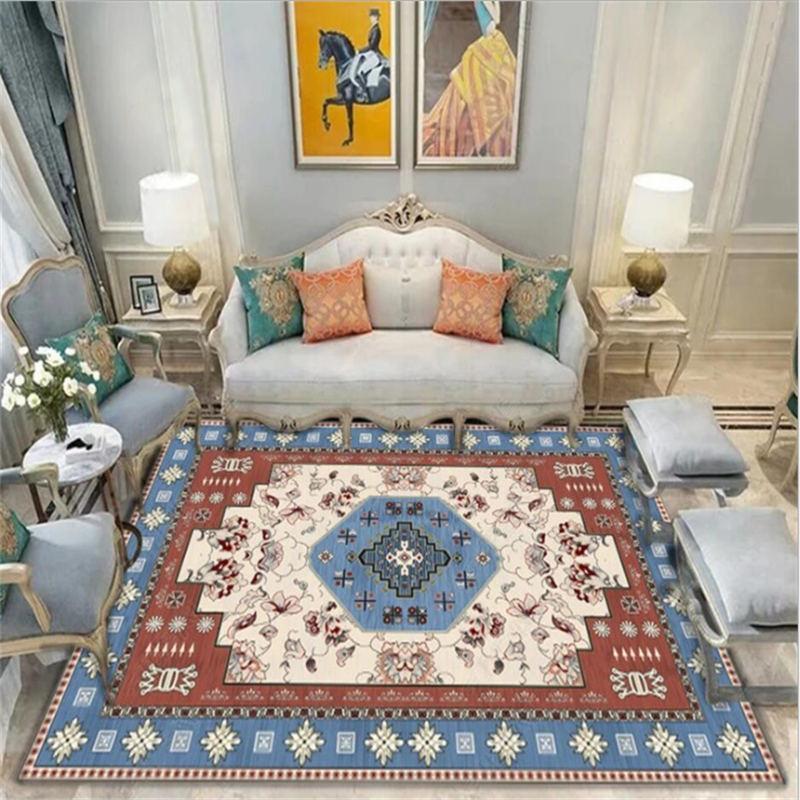 Coperta di zona per il salone Natale Tappeto Rosso Blu europea geometrico Flower Carpet Style Pattern Nordic Decoration Home Baby