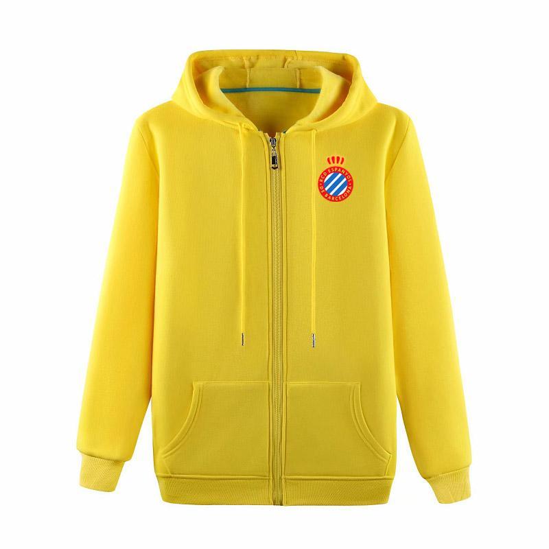 2020 Espanyol FuAll-zip giacca con cappuccio di calcio di addestramento di calcio con cappuccio Pullover rivestimento di calcio Felpa cappotto giacche da uomo