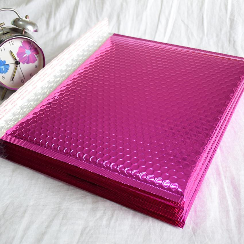 Navio livre Rose Red Aluminized espessamento zipper película da bolha saco envelope expresse grande saco de embalagem Poly bolha envelopes