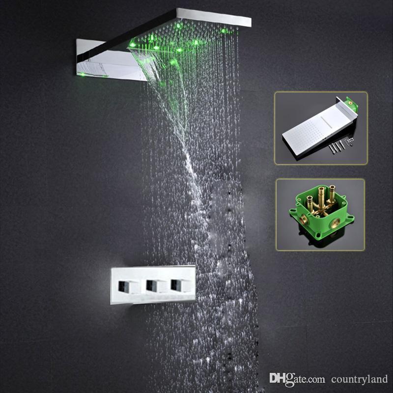 الأمطار شلال الطاقة المائية تغير لون LED المعاصر Shoer مع رئيس صنبور دش خلاط مجموعة 5 20180927 #