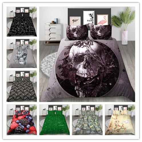 New Products Geometric and Skull Art Bedding Sets Microfiber Duvet Cover Twin Full Queen Size