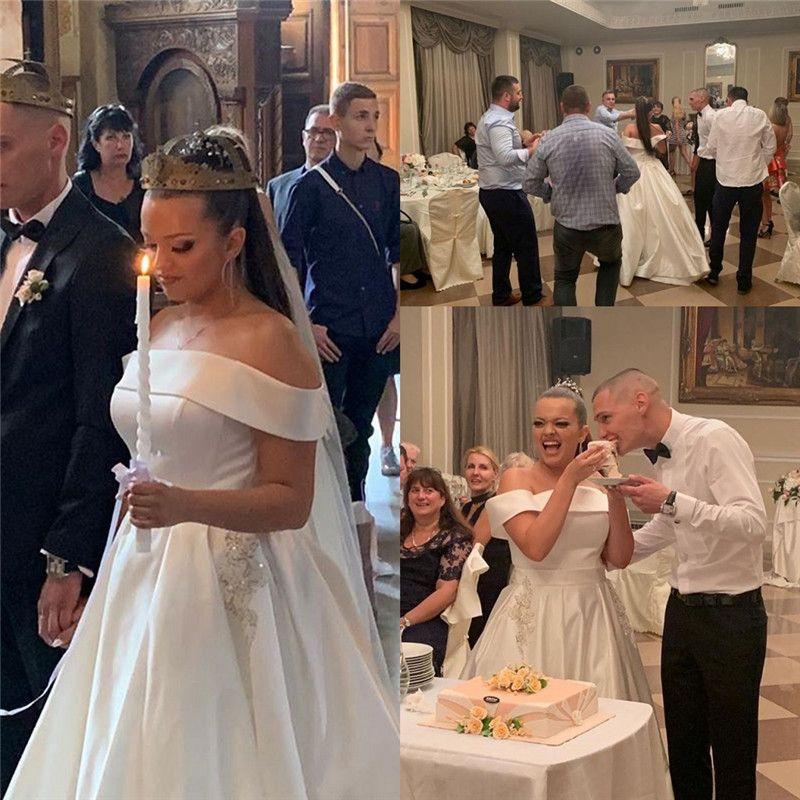 2020 clásico del hombro vestidos de boda de Aline con mangas Vestido de Noiva vestidos de novia por encargo