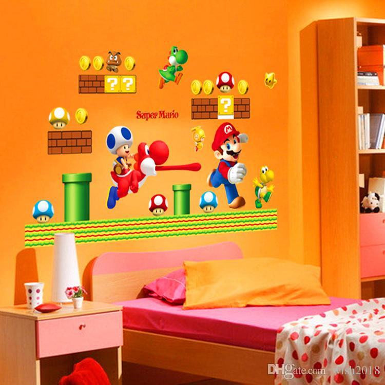 Super Mario Build a Scene Peel and Stick Wall Decal Stickers Wall Decals Stickers DIY Removable Stick Baby Boys Girls Kids Room Nursery Wall