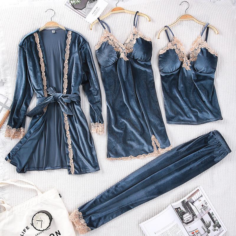 Caliente del invierno de las mujeres ropa de noche de terciopelo suelta y cómoda Salón Robe conjunto de encaje 3PCS pijamas sueño Traje Kaftan camisón Inicio Ropa