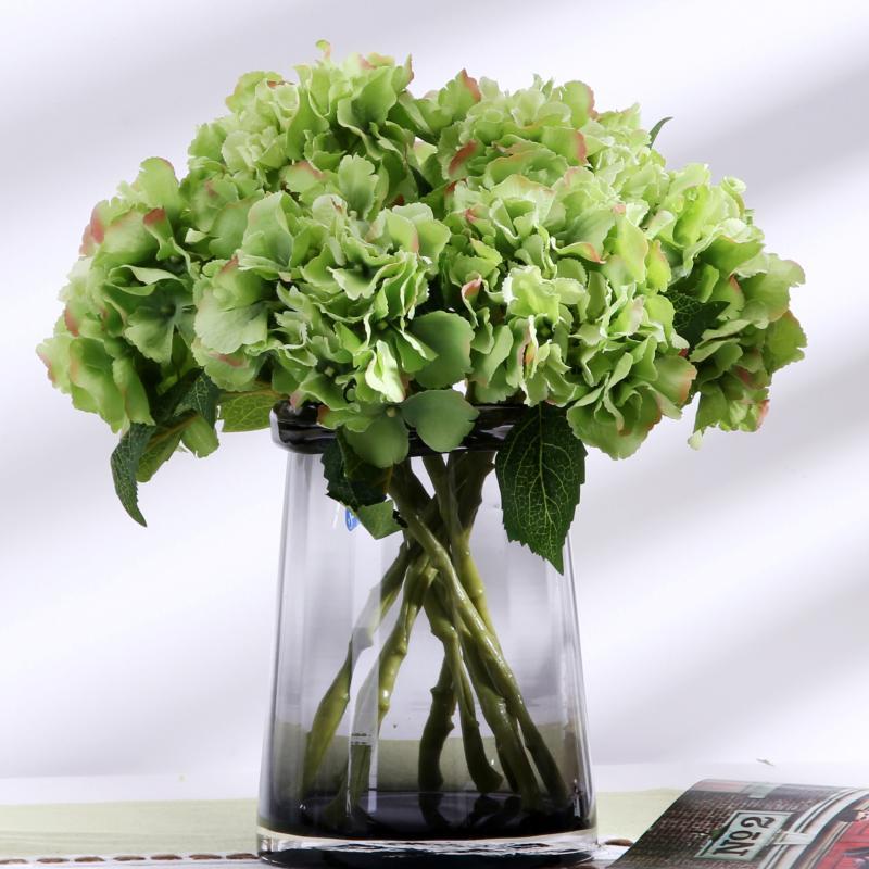 Seta artificiale Hydrangea fiori di plastica breve diramazione per Composizione di fiori fai da te falso Hydrangea casa Garden Decor