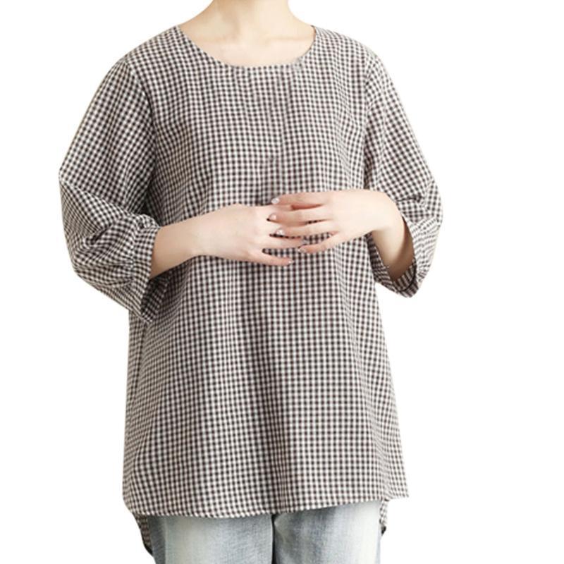 تم الفحص ي أزياء المرأة قميص شيك المتضخم بلوزة كم طويل أنثى عارضة طباعة قميص فضفاض القطن بلايز Blusas ي