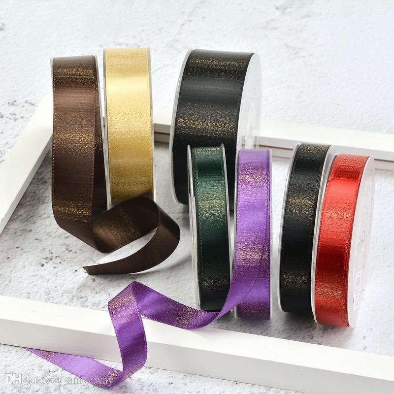 NEW 9/16/25/38mm Ombre Gold Purl Ribbon DIY Crafts,Zakka,Hair Bow,Sewing, Gifts Packing Wedding Party Decoration Ribbons 100yard