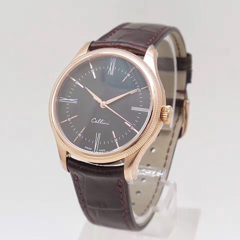للرجال ساعات سيليني m50505 008 18K وردة نوع ذهب التلقائية الميكانيكية حركة الأسود ديل حزام من الجلد الساعات مصمم