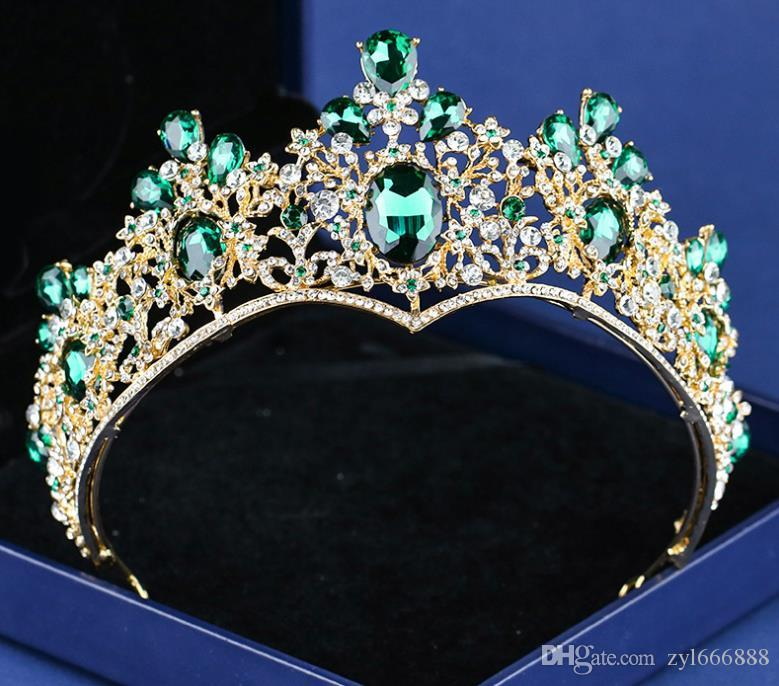 Emerald Noble Crown Headwear New European and American Alloy Beautiful Atmospheric Bride Headwear Crown