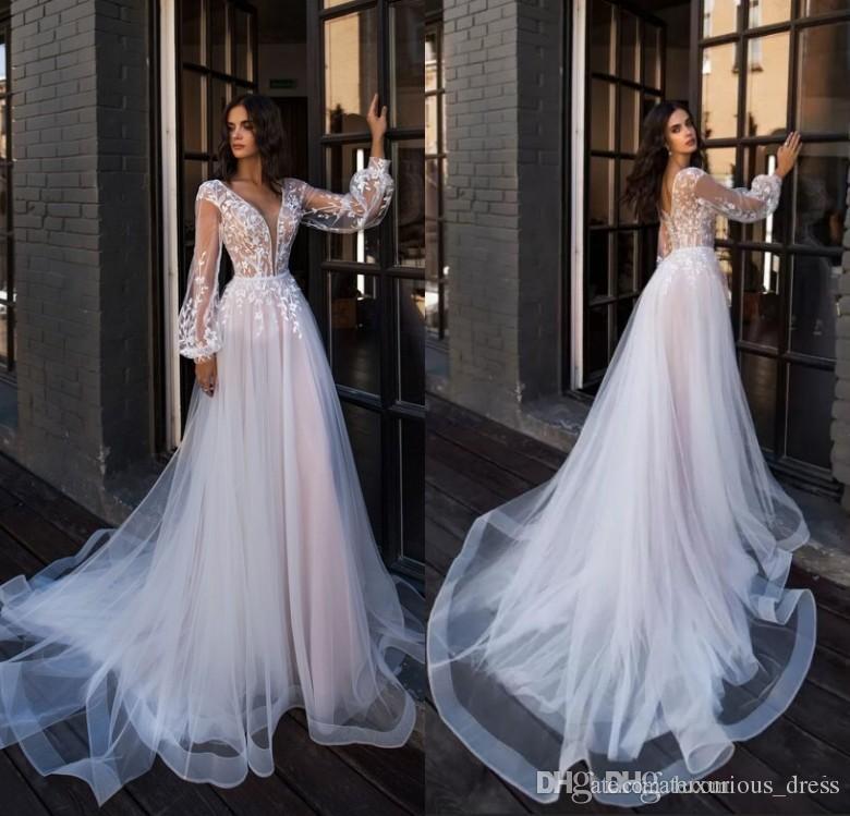 2019 Boemia abiti da sposa elegante profondo scollo a V puro lunghe maniche pavimento di Tulle merletto di lunghezza del Boho Beach Abiti da sposa Abiti da sposa